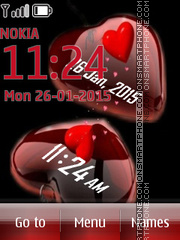 Love Hearts Clock 01 tema screenshot