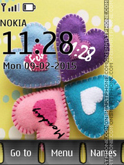 Cute Hearts Clock tema screenshot