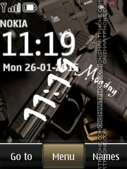 Weapon Pistol Digital Clock theme screenshot