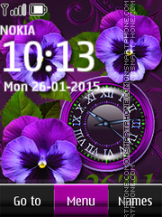 Violet Flowers Dual Clock theme screenshot