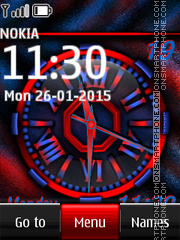 Nokia Dual Red Clock theme screenshot