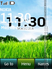 Скриншот темы Nature Green Grass Digital Clock