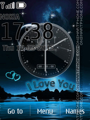 I Love U Clock tema screenshot