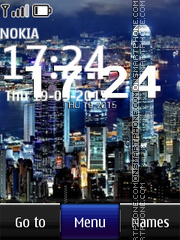 Cityscape Digital Clock theme screenshot