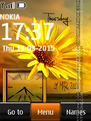 Yellow Flower Dual Clock theme screenshot