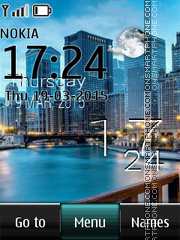 City Skyline Live Clock tema screenshot