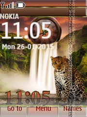 Leopard and Waterfall tema screenshot