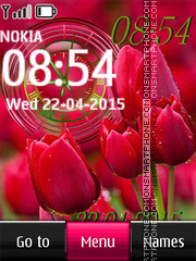Red Tulips Clock tema screenshot