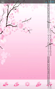 Pink Cherry Flowers tema screenshot