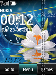 Flowers with Dual Clock theme screenshot