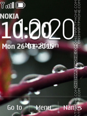 Water Drops Clock 05 tema screenshot