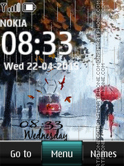 Rain Digital Clock 03 tema screenshot
