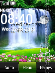 Waterfall Digital Clock tema screenshot