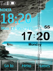 Mediterranean Sea Digital Clock tema screenshot