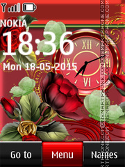 Red Flowers Clock 01 theme screenshot