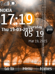 Autumn Forest Clock tema screenshot