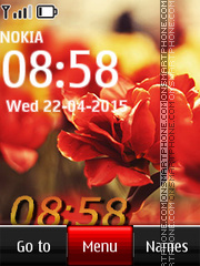 Flower Digital Clock 03 tema screenshot
