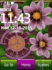 Pink Flower Dual Clock 02 tema screenshot