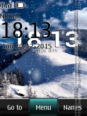 Winter Digital Clock 05 tema screenshot