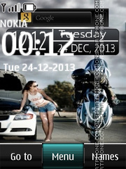 Bike Digital Clock theme screenshot