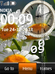 Daisies Dual Clock tema screenshot