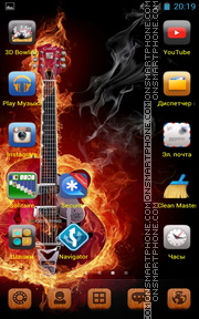 Guitar in Orange Fire tema screenshot