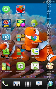 Underwater with Clownfish theme screenshot