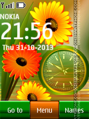 Gerbera and Clock theme screenshot