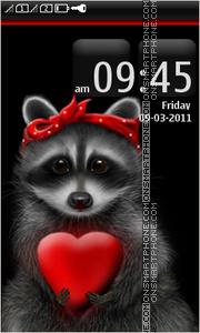 Raccoon in love theme screenshot