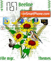 Sunflowers And Birds theme screenshot