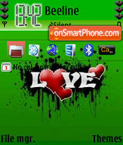 Green Abstract Love theme screenshot