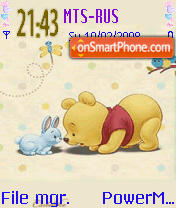 Скриншот темы Pooh N Bunny Animated