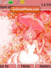Pink Lady In Flowers theme screenshot