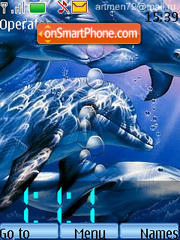 Clock with Dolphins Animated theme screenshot