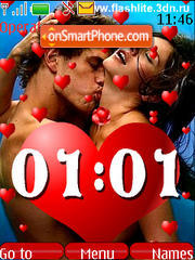 Love clock animated(SWF) theme screenshot