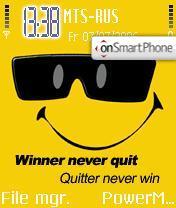 Smiley Winner Never Quit es el tema de pantalla