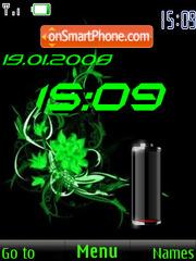 SWF clock $ battery green es el tema de pantalla