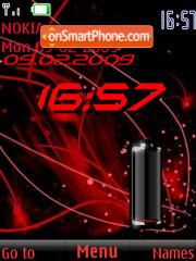 SWF clock $ battery red es el tema de pantalla