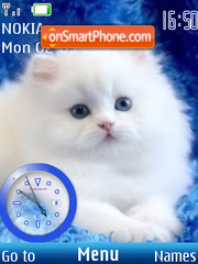 SWF white cat clock2 theme screenshot
