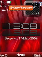 SWF red clock $ rus date theme screenshot