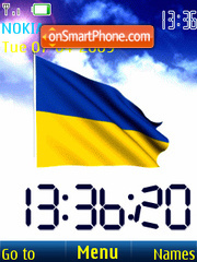 SWF clock Ukraine flag anim theme screenshot