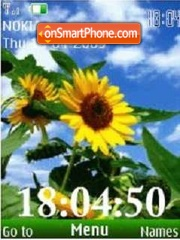 SWF clock sun flowers anim theme screenshot