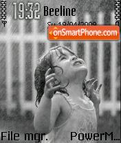 Cute Girl In Rain 01 theme screenshot