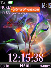 SWF clock abstract lily anim theme screenshot