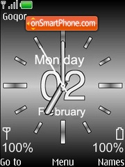 Silver Analog Clock theme screenshot