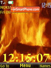 SWF clock fire anim theme screenshot