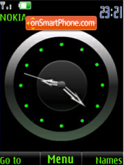 SWF green analog clock tema screenshot