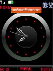 SWF red analog clock theme screenshot