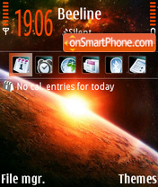 Space Sunrise tema screenshot