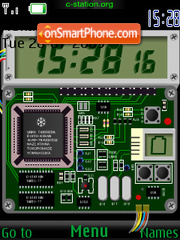 Скриншот темы Circuit Board SWF Clock
